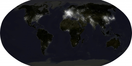 World map in Robinson projection, showing city lights at night. Isolated on white, with clipping path.Data source: NASA