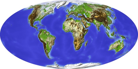 Globe in Mollweide projection. Shaded relief colored according to terrain height. Shows polar and pack ice, large urban areas. Isolated on white, with clipping path. Imagens