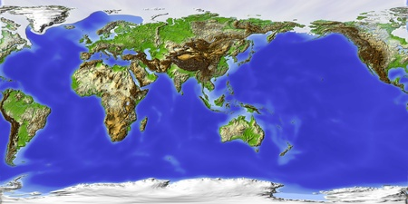 World map, shaded relief, centered on Asia. Colored according to elevationProjection:  Geographic