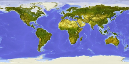 earth map: World map centered on Africa. Shaded relief colored according to dominant vegetation. Shows polar and pack ice, large urban areas. Isolated on white, with clipping path. Stock Photo