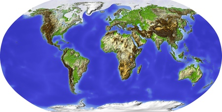 Globe in Robinson projection, centered on Africa. Shaded relief colored according to terrain height. Shows polar and pack ice, large urban areas. Isolated on white, with clipping path. Standard-Bild