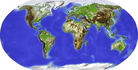 Globe in Robinson-Projektion, auf Afrika zentriert. Shaded Relief nach Geländehöhe gefärbt. Zeigt Polar-und Packeis, großen städtischen Gebieten. Isoliert auf weißem, mit Clipping-Pfad.