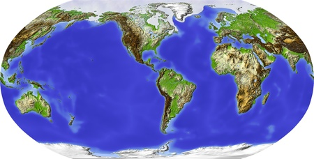 Globe in Robinson projection, centered on America. Shaded relief colored according to terrain height. Shows polar and pack ice, large urban areas. Isolated on white, with clipping path.