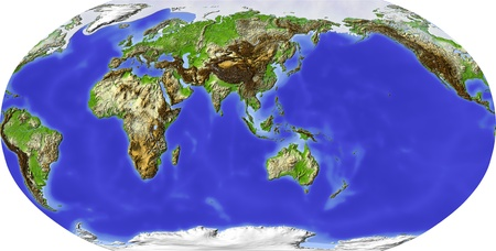 Globe in Robinson projection. Shaded relief colored according to terrain height. Shows polar and pack ice, large urban areas. Isolated on white, with clipping path. Imagens