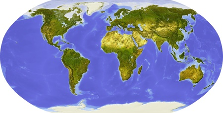 topography: Globe in Robinson projection, centered on Africa. Shaded relief colored according to dominant vegetation. Shows polar and pack ice, large urban areas. Isolated on white, with clipping path.