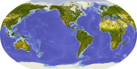 bathymetry: Globe in Robinson projection, centered on America. Shaded relief colored according to dominant vegetation. Shows polar and pack ice, large urban areas. Isolated on white, with clipping path. Stock Photo