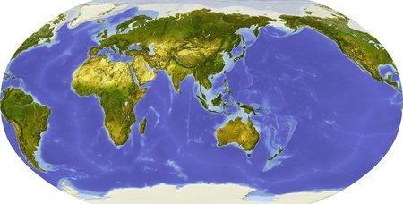 Globe in Robinson projection, centered on Asia. Shaded relief colored according to dominant vegetation. Shows polar and pack ice, large urban areas. Isolated on white, with clipping path. Standard-Bild