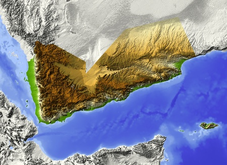 Yemen. Shaded relief map. Surrounding territory greyed out. Colored according to elevation. Includes clip path for the state area. Stock Photo