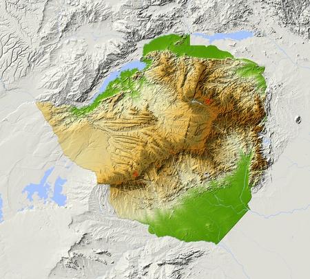 zimbabwe: Zimbabwe. Mapa en relieve sombreado. Territorio circundante de color gris. Pintado de acuerdo a la elevación. Incluye el camino del clip para el area.Projection Estado: MercatorExtents: fuente 2434.5-23.5-14.5Data: NASA