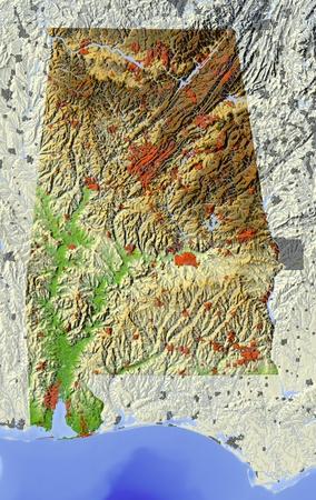 alabama: 3D relief map of Alabama.   Stock Photo