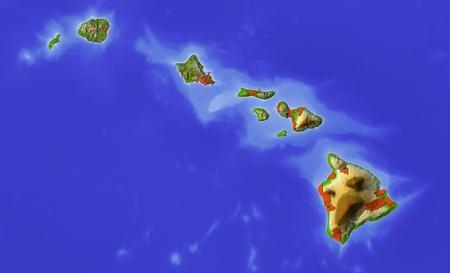 honolulu: Shaded relief map of Hawaiii.