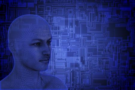futuristic man: Human wireframe head on tech background.