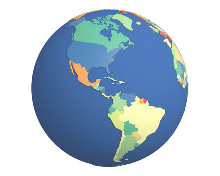 centered: Political globe with colored, extruded countries, centered on the Americas.