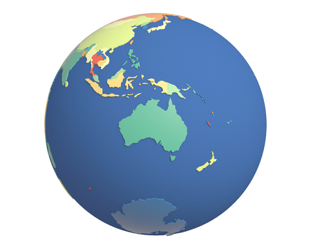 centered: Political globe with colored, extruded countries, centered on Australia. Stock Photo