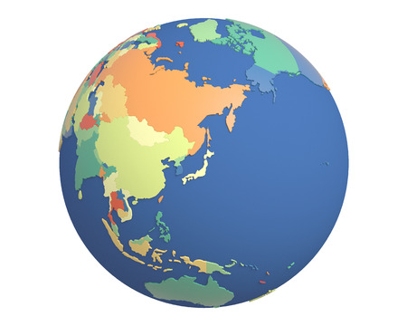 centered: Political globe with colored, extruded countries, centered on Japan. Stock Photo