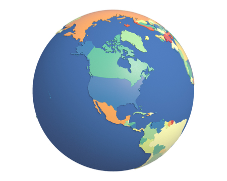 centered: Political globe with colored, extruded countries, centered on North America. Stock Photo