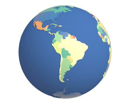 centered: Political globe with colored, extruded countries, centered on South America. Stock Photo