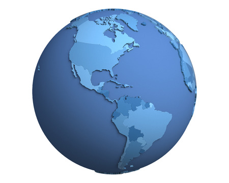 centered: Political globe with blue, extruded countries, centered on the Americas