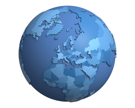 centered: Political globe with blue, extruded countries, centered on Europe