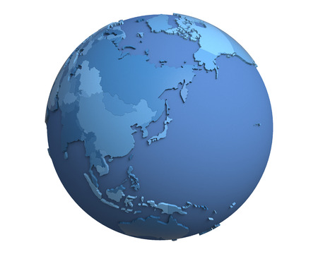 centered: Political globe with blue, extruded countries, centered on Japan