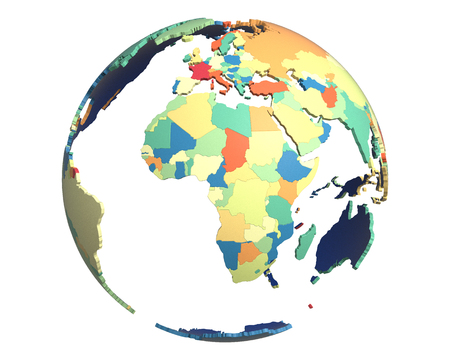 world globe map: Political globe with colored, extruded countries, centered on Africa Stock Photo