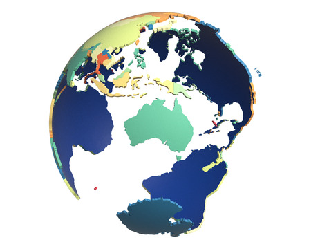 centered: Political globe with colored, extruded countries, centered on Australia
