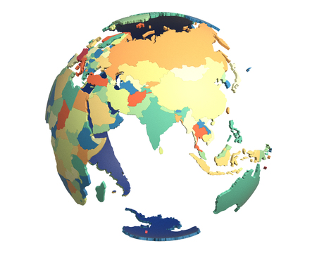 centered: Political globe with colored, extruded countries, centered on India