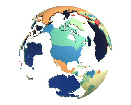 centered: Political globe with colored, extruded countries, centered on North America