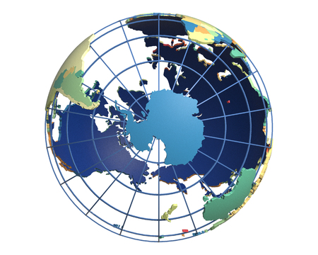 centered: Political globe with colored, extruded countries, centered on Antarctica