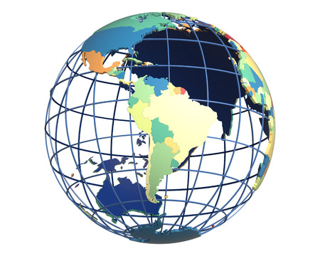 centered: Political globe with colored, extruded countries, centered on South America