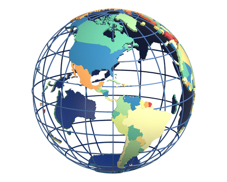 americas: Political globe with colored, extruded countries, centered on the Americas Stock Photo