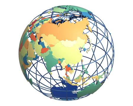 centered: Political globe with colored, extruded countries, centered on China Stock Photo