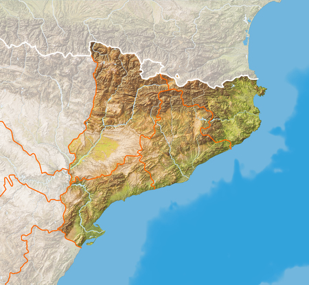 Relief map of Catalonia. Colored according to natural colors and terrain height.