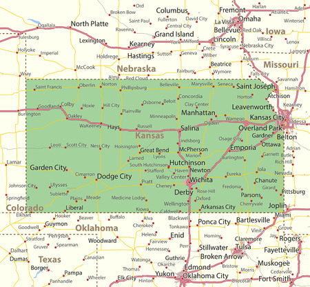 캔사스지도. 주 경계, 도시 지역, 장소 이름, 도로 및 고속도로를 표시합니다. 투영 : 메르카토르.