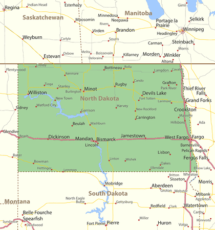 Map Of North Dakota. Shows State Borders, Urban Areas, Place ...