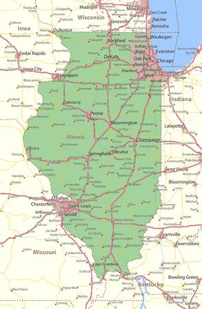 일리노이지도. 주 경계, 도시 지역, 장소 이름, 도로 및 고속도로를 표시합니다. 투영 : 메르카토르. 일러스트