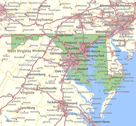 메릴랜드지도. 주 경계, 도시 지역, 장소 이름, 도로 및 고속도로를 표시합니다. 투영 : 메르카토르.