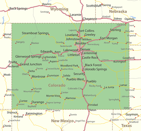 Map of Colorado. Shows state borders, urban areas, place names, roads and highways.