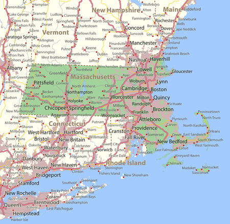 Map of Massachusetts. Shows state borders, urban areas, place names, roads and highways. Projection: Mercator.