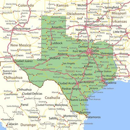 Kaart van Texas. Toont staatsgrenzen, stedelijke gebieden, plaatsnamen, wegen en snelwegen. Projectie: Mercator.
