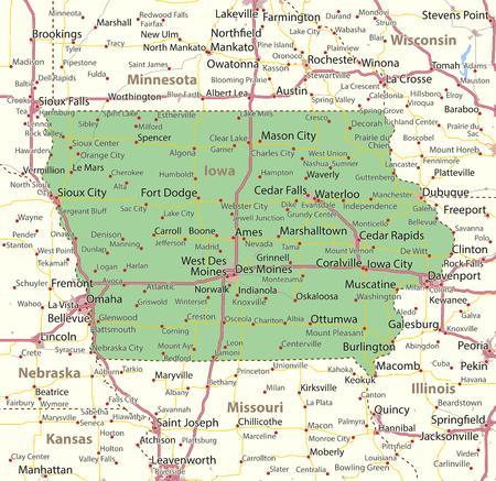 아이오와지도. 주 경계, 도시 지역, 장소 이름, 도로 및 고속도로를 표시합니다. 투영 : 메르카토르. 일러스트