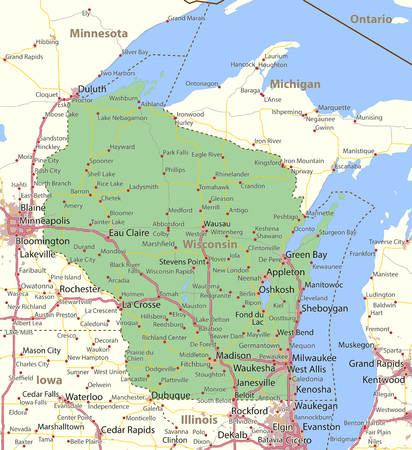 Map of Wisconsin. Shows state borders, urban areas, place names, roads and highways.Projection: Mercator.