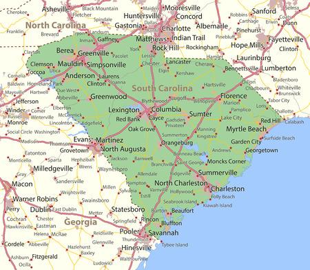 사우스 캐롤라이나지도. 주 경계, 도시 지역, 장소 이름, 도로 및 고속도로를 표시합니다. 투영 : 메르카토르.