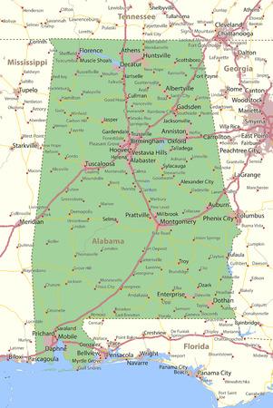지도 알라바마. 주 경계, 도시 지역, 장소 이름, 도로 및 고속도로를 표시합니다. 투영 : 메르카토르. 일러스트