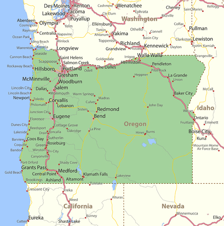 Map of Oregon. Shows state borders, urban areas, place names, roads and highways.