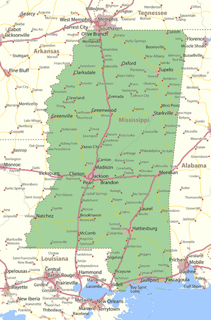 Map of Mississippi. Shows state borders, urban areas, place names, roads and highways.