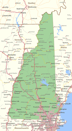 Map of New Hampshire. Shows state borders, urban areas, place names, roads and highways. Projection: Mercator. Illustration