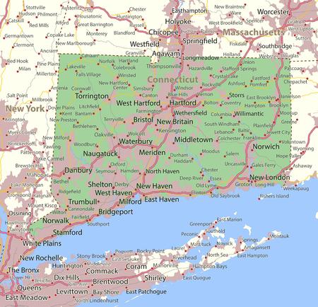 코네티컷의지도. 주 경계, 도시 지역, 장소 이름, 도로 및 고속도로를 표시합니다. 투영 : 메르카토르.