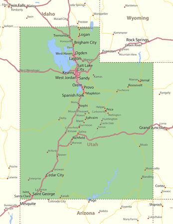 Map of Utah. Shows state borders, urban areas, place names, roads and highways.Projection: Mercator.