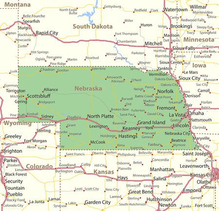 네브래스카지도. 주 경계, 도시 지역, 장소 이름, 도로 및 고속도로를 표시합니다. 투영 : 메르카토르.